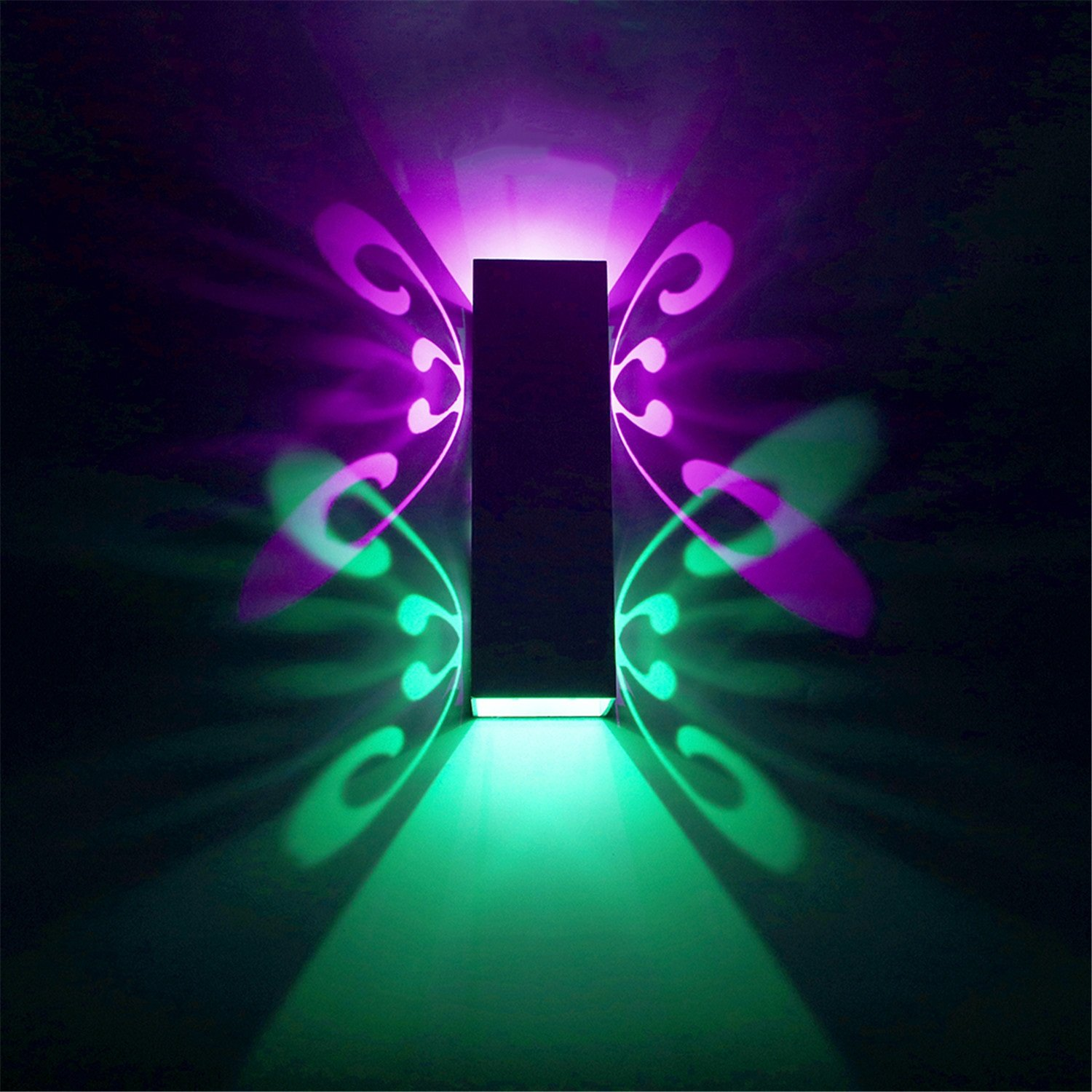 Yaojiaju Butterfly Shape Creative Led Wall Lamp Color Square Rectangle Contracted Night Light AC 110-240V (Color : Colour)