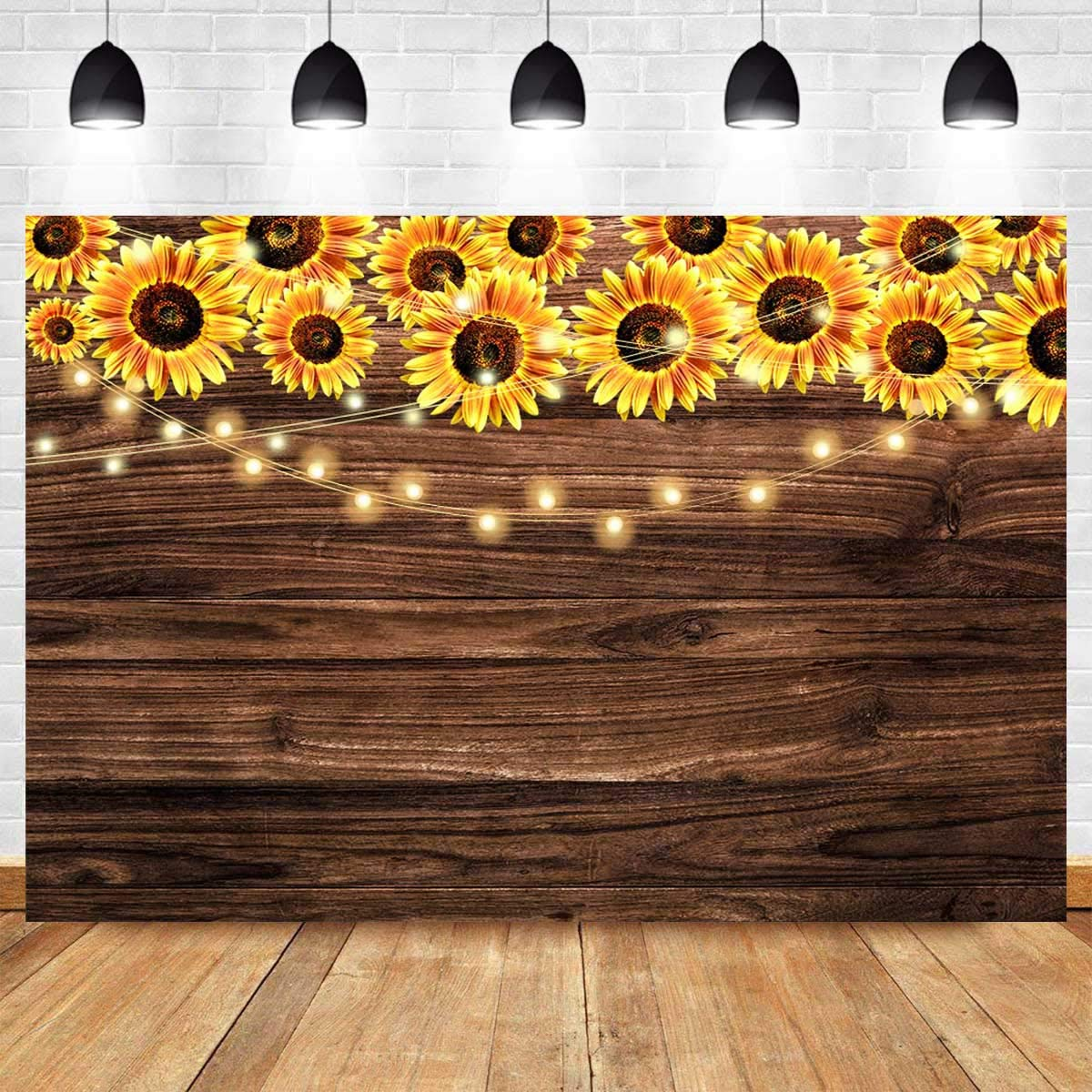 Fanghui 9x6ft Sunflower Wooden Floor Texture Backdrop Baby Shower Wedding Birthday Party Banner Decor Supplies Sunflower Theme Party Photography Background Photo Booth Props