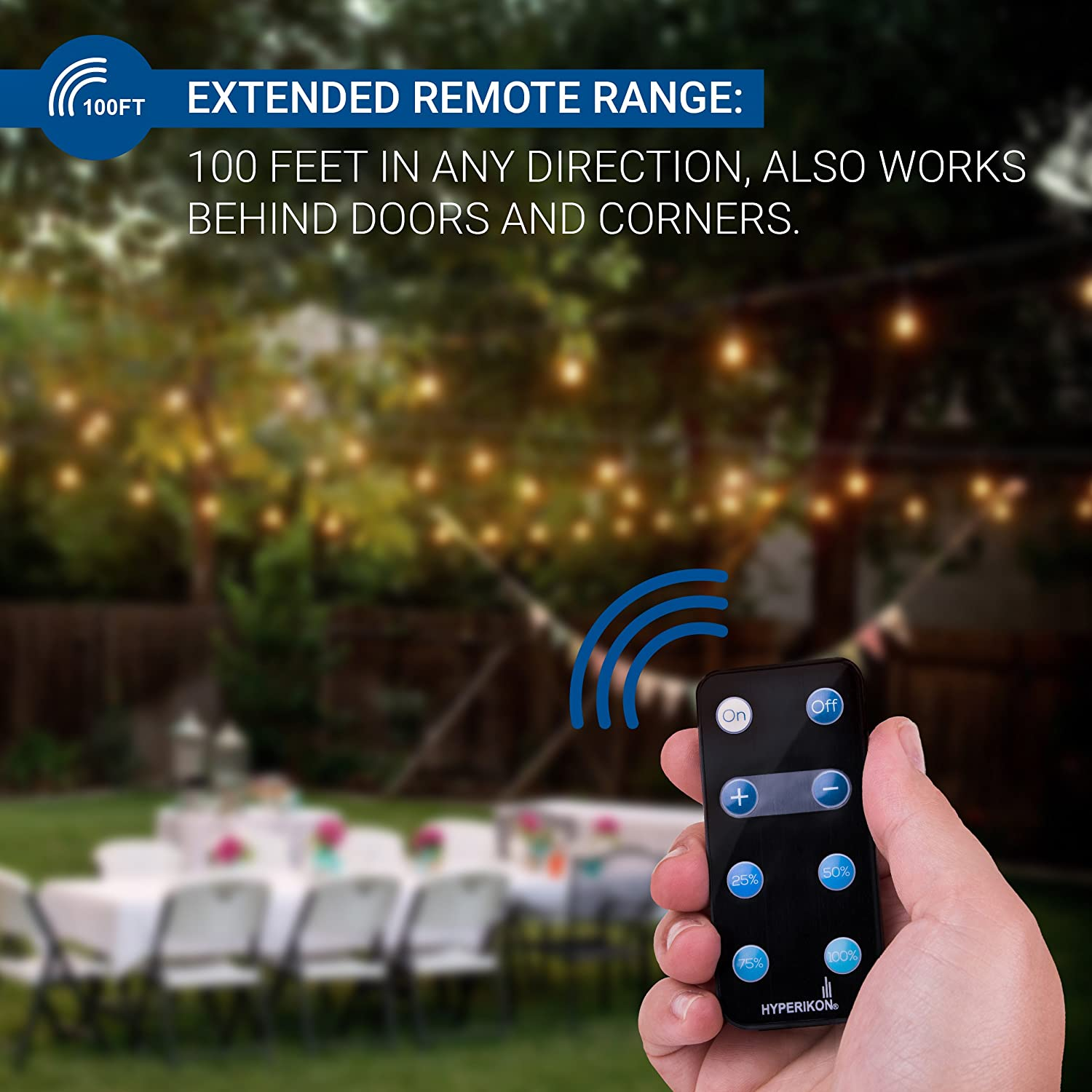 Hyperikon Plug In Dimmer Waterproof Led Outdoor String Light Wireless Controlled Lightdimmer Cord 39ft With Remote