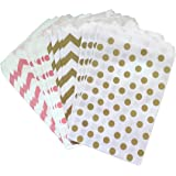Outside the Box Papers Polka Dot Paper Treat Sacks 5.5 x 7.5 48 Pack Pink, Gold, White