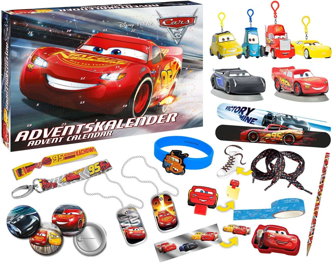 Craze 57361 Disney Cars 57361-Adventskalender Pixar 3, Mehrfarbig