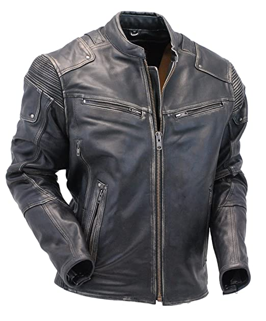 5db1500175d69 Men s Ultimate Vintage Gray Racer Vented Stretch Motorcycle Jacket CCW ...