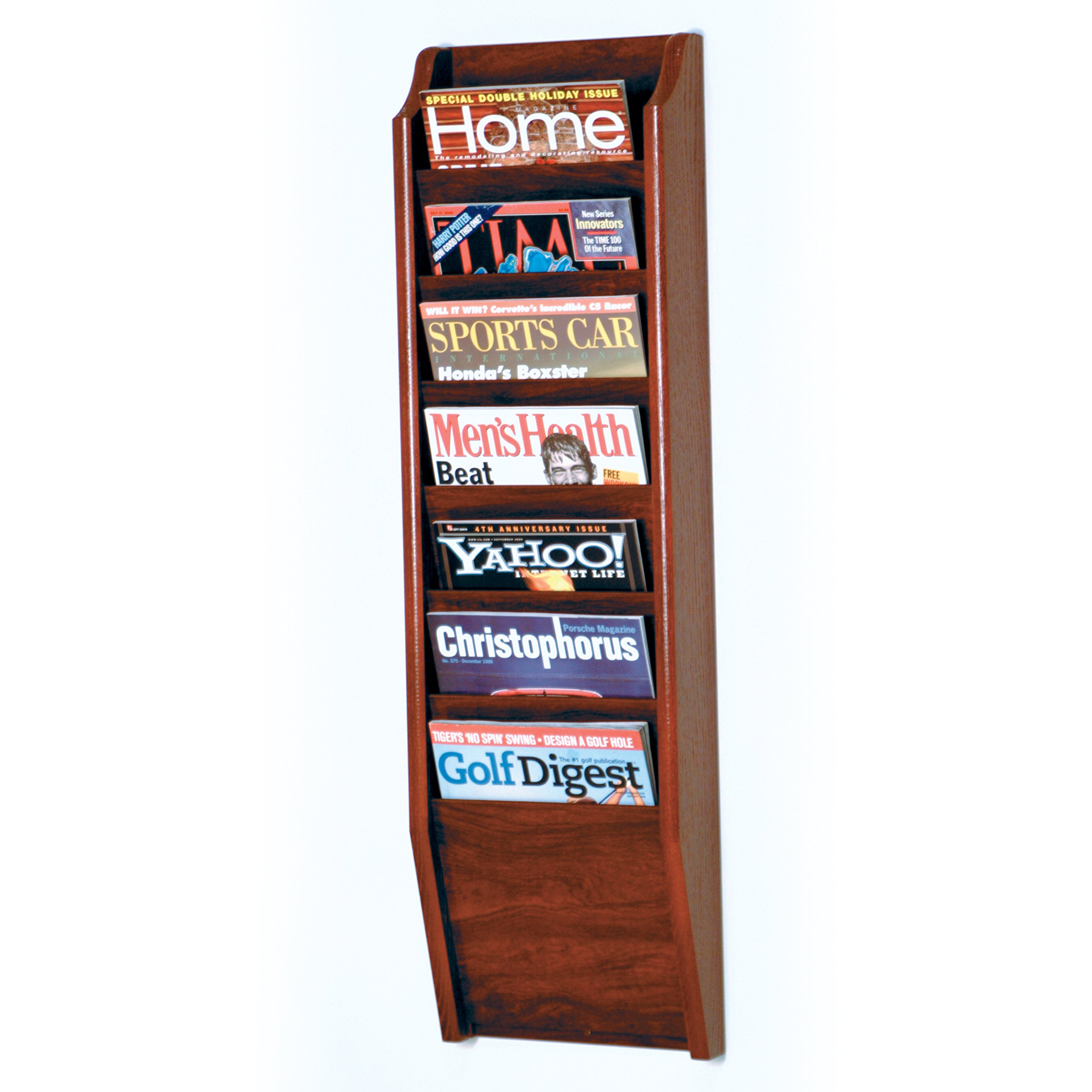 Wooden Mallet 7-Pocket Cascade Magazine Rack, Mahogany by Wooden Mallet