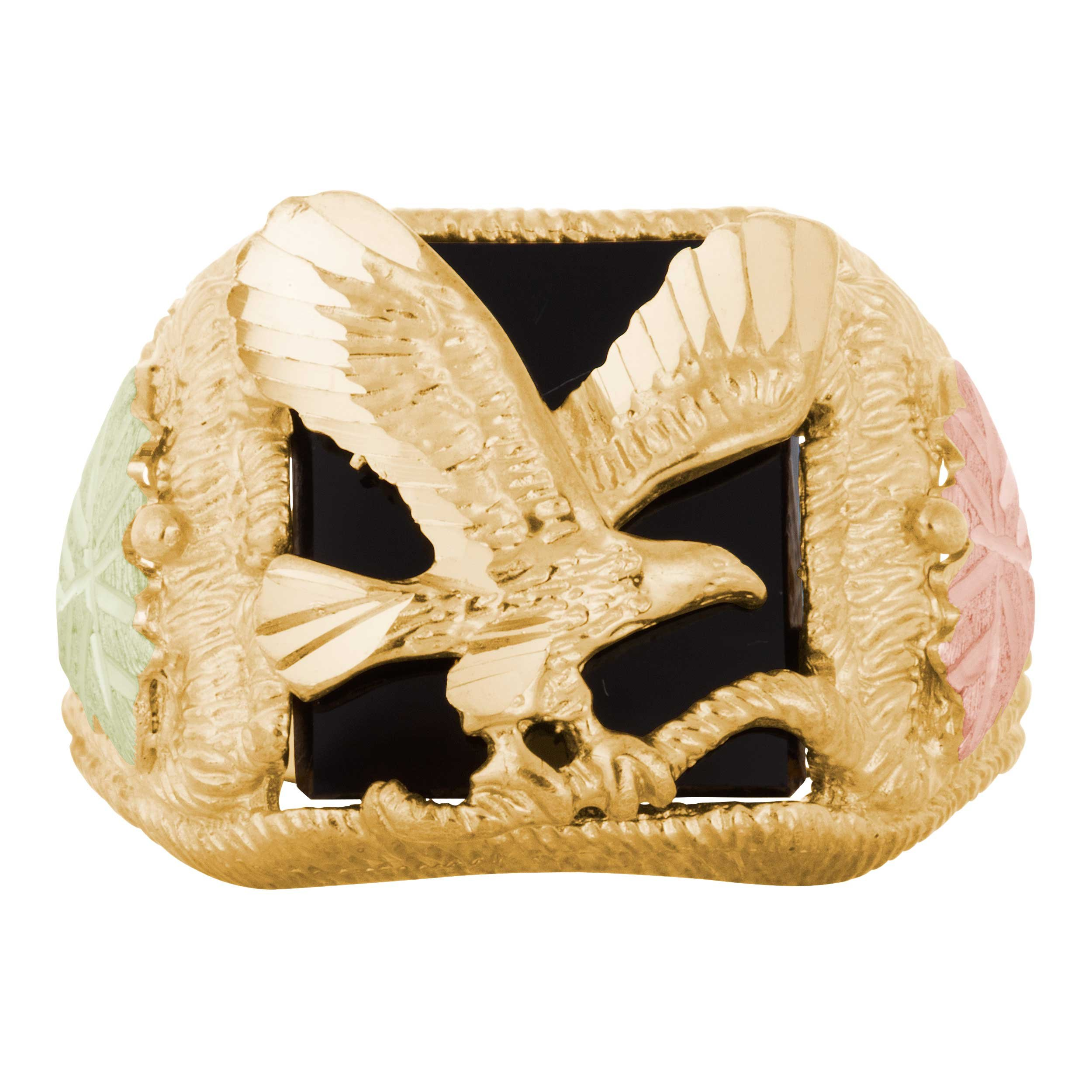Men's Onyx Eagle Ring, 10k Yellow Gold, 12k Pink and Green Gold Black Hills Gold Motif, Size 14 by Black Hills Gold Jewelry (Image #3)