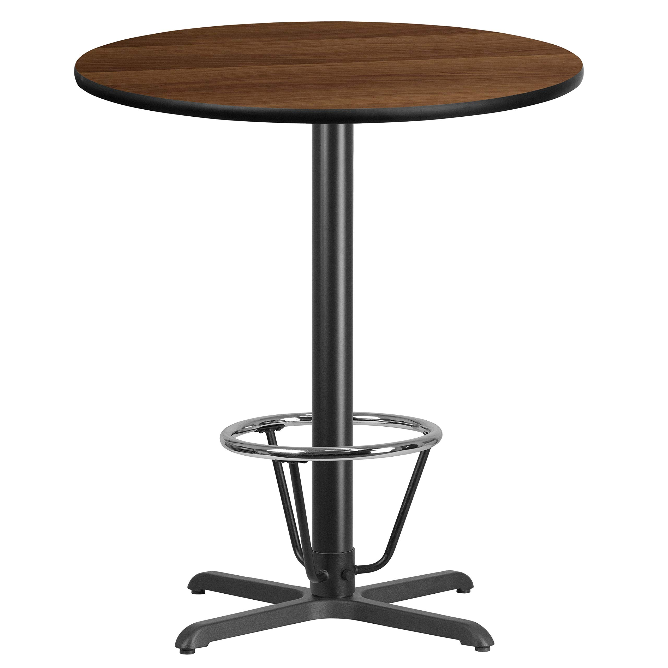 MFO 36'' Round Walnut Laminate Table Top with 30'' x 30'' Bar Height Table Base and Foot Ring by My Friendly Office