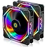 CONISY 120mm PC Case Fan Ultra Quiet LED Desktop Computer Cooling Fans - RGB (2Pack)