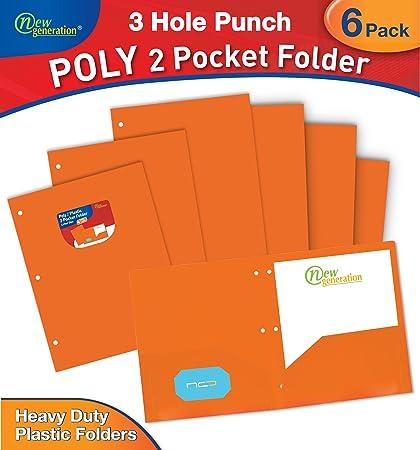Amazon new generation orange 3 hole punched 2 pocket poly new generation orange 3 hole punched 2 pocket polyplastic folder heavy colourmoves