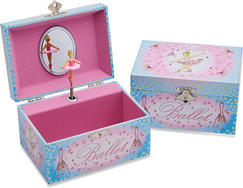 CLISPEED Portagioie Musicale Ballerina Portagioie Rotante Ragazza da Ballo Scatola Melodia a Forma di Cuore Scatola Portagioie Custodia per Bambini Regalo di Compleanno per Ragazze Rosa