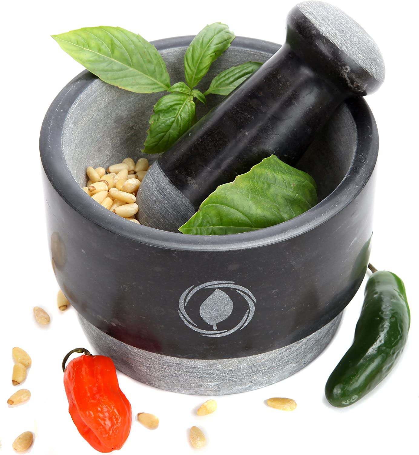 Mortar and Pestle Set Granite (NEW) - REVERSIBLE - Large Mortar Set with FREE Silicone Lid/Mat and Spoon [5.5 Inch, 17 Oz] Laevo Cook