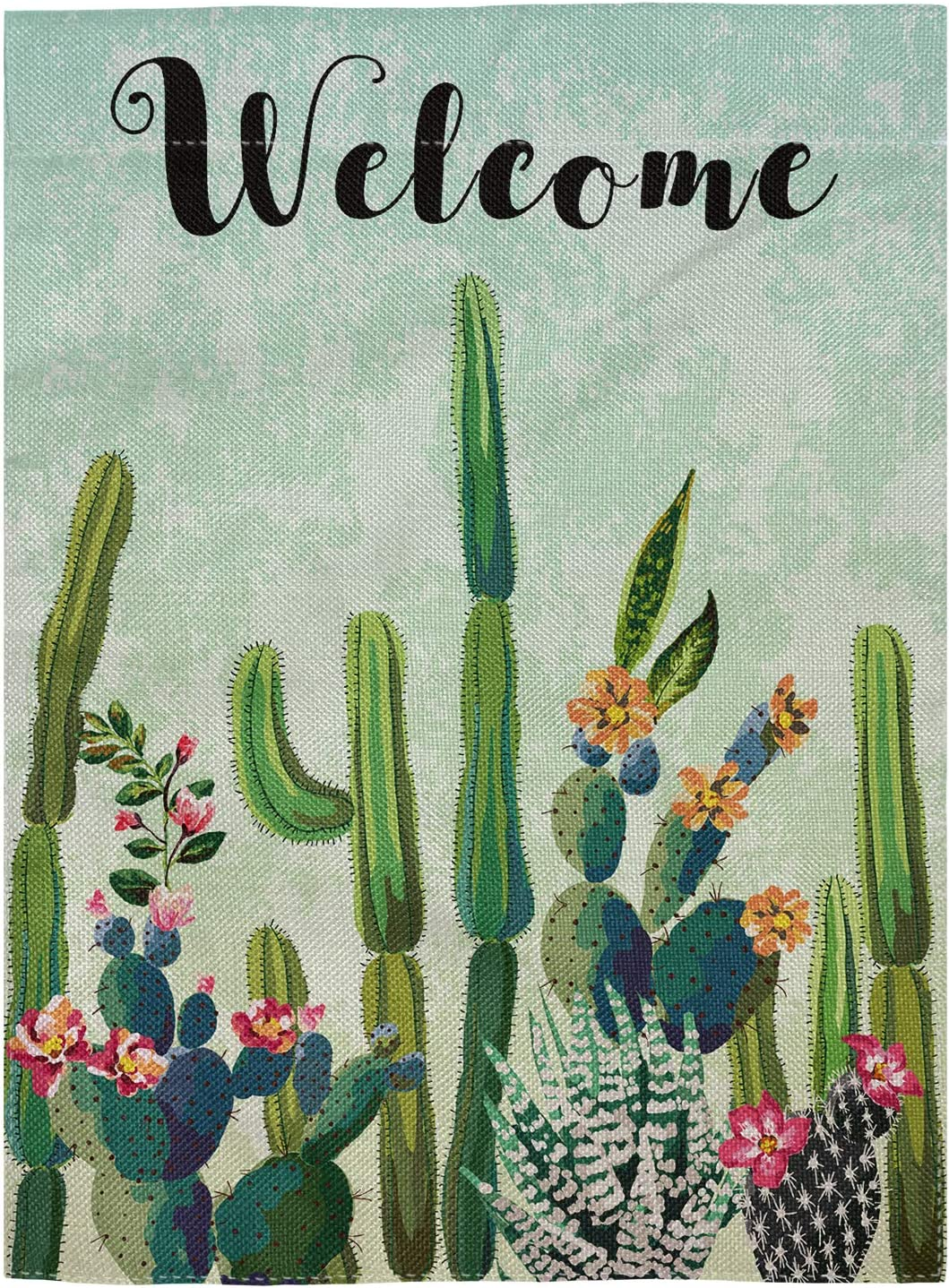 pingpi Cute Succulents Cactus Double Sided Burlap Garden Flag 12.5