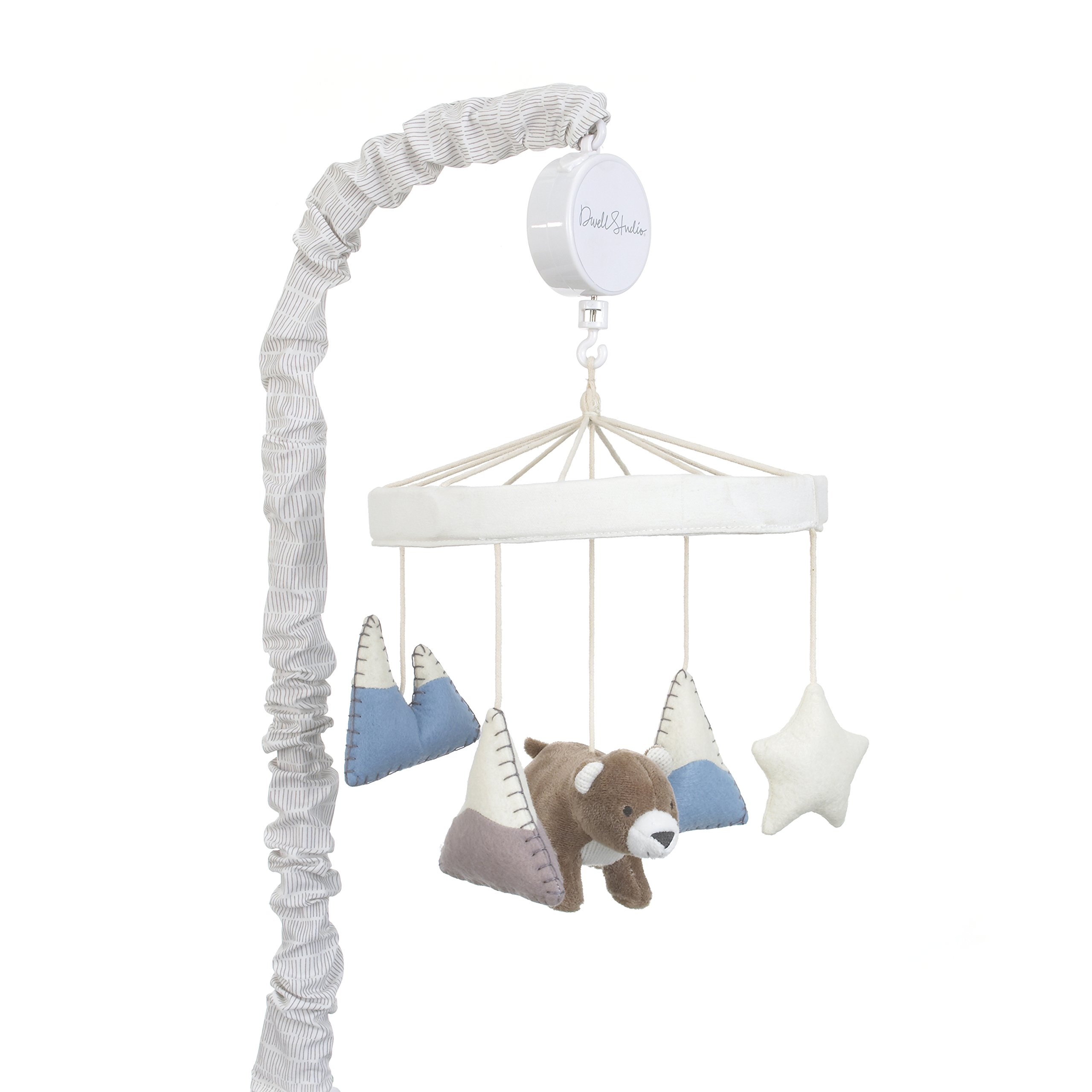 Dwell Studio Bear Hugs Nursery Crib Musical Mobile, Blue/Gray/White Bear/Mountains