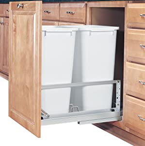 Rev-A-Shelf Double 50 Quart Pullout Waste Containers, QT, White