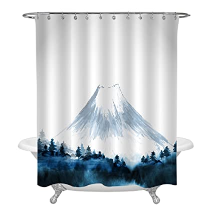 MitoVilla Japanese Style Shower Curtain Set Forest Trees At Foot Of Mount Fuji In Mist