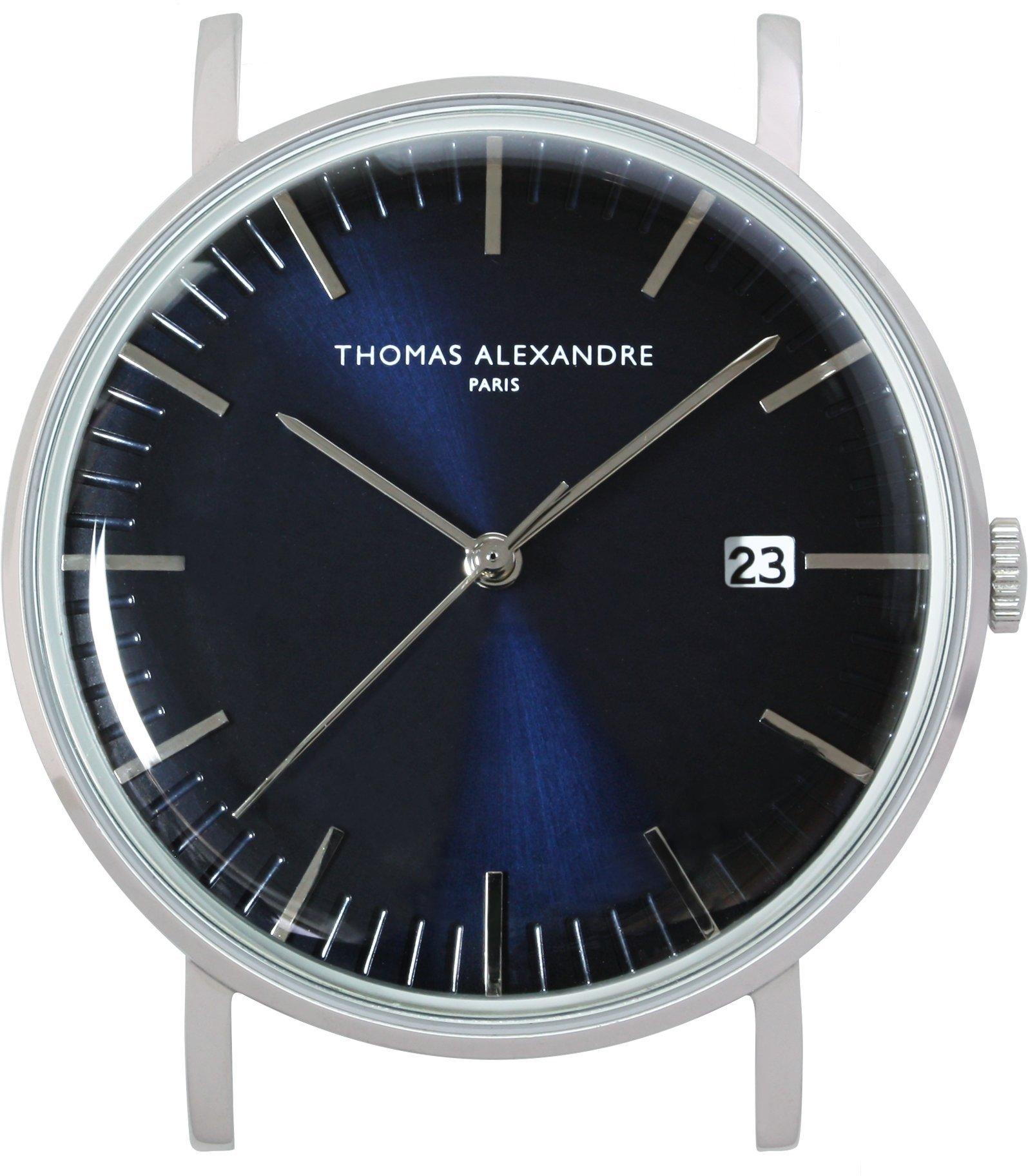[Thomas Alexandre] Dome Glass France Minimal Design Men's/Women's Watch Navy Blue