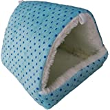 WOWOWMEOW Hamsters Polka Dot Warm Fleece Cave Bed Small Animals Hanging Cage Hideout (L, Blue-Dots)