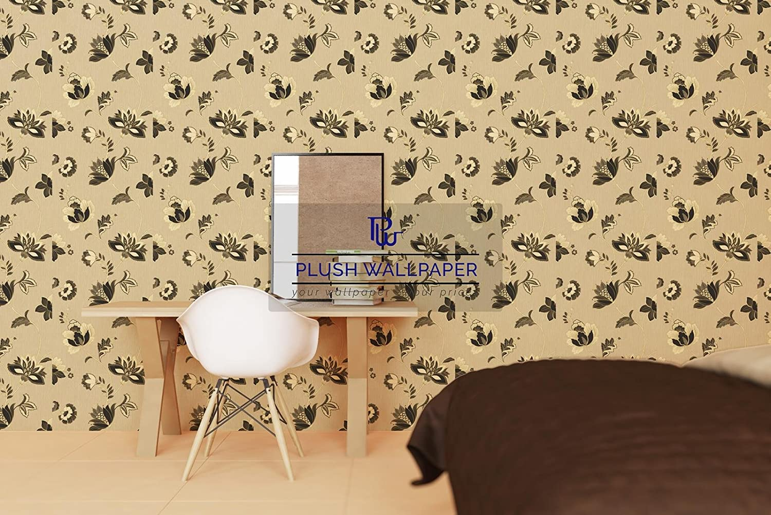 IDECO JACOBEAN RICH FLORAL LEAF BLOWN VINYL WALLPAPER ROLL BEIGE ...