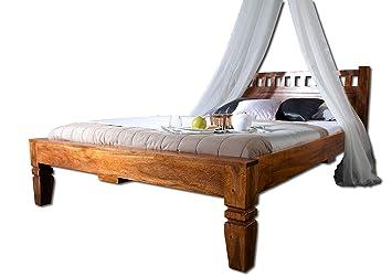 Massivmoebel24de Kolonialmöbel Bett 160x200 Honig Akazie Holz Massiv Oxford 222