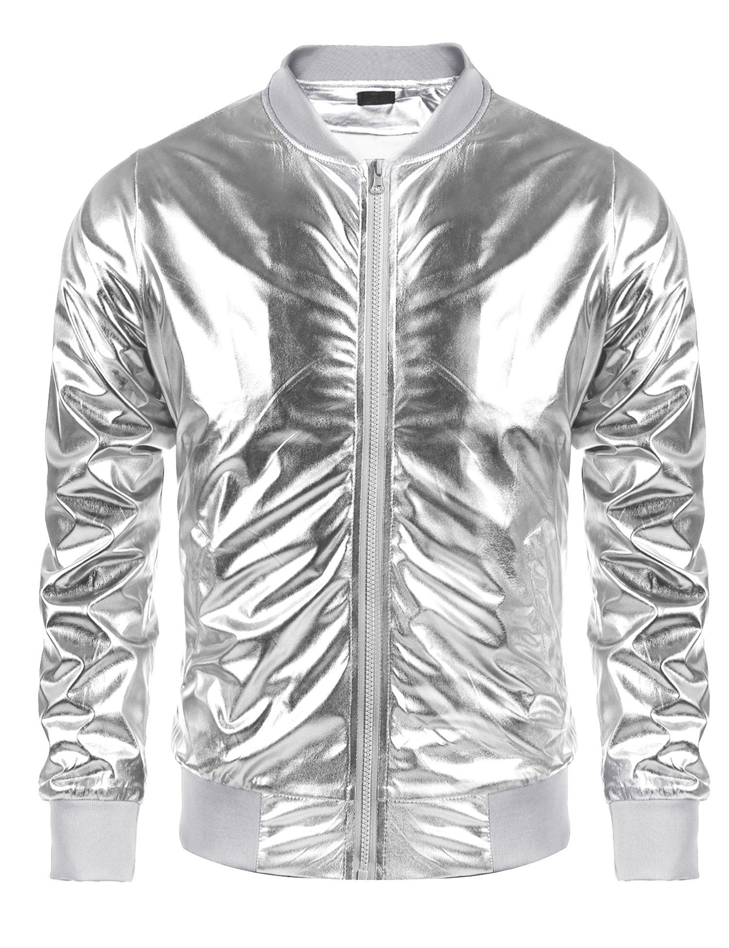 Jinidu Men's Metallic Jacket Nightclub Style Baseball Varsity Bomber Flight Coat
