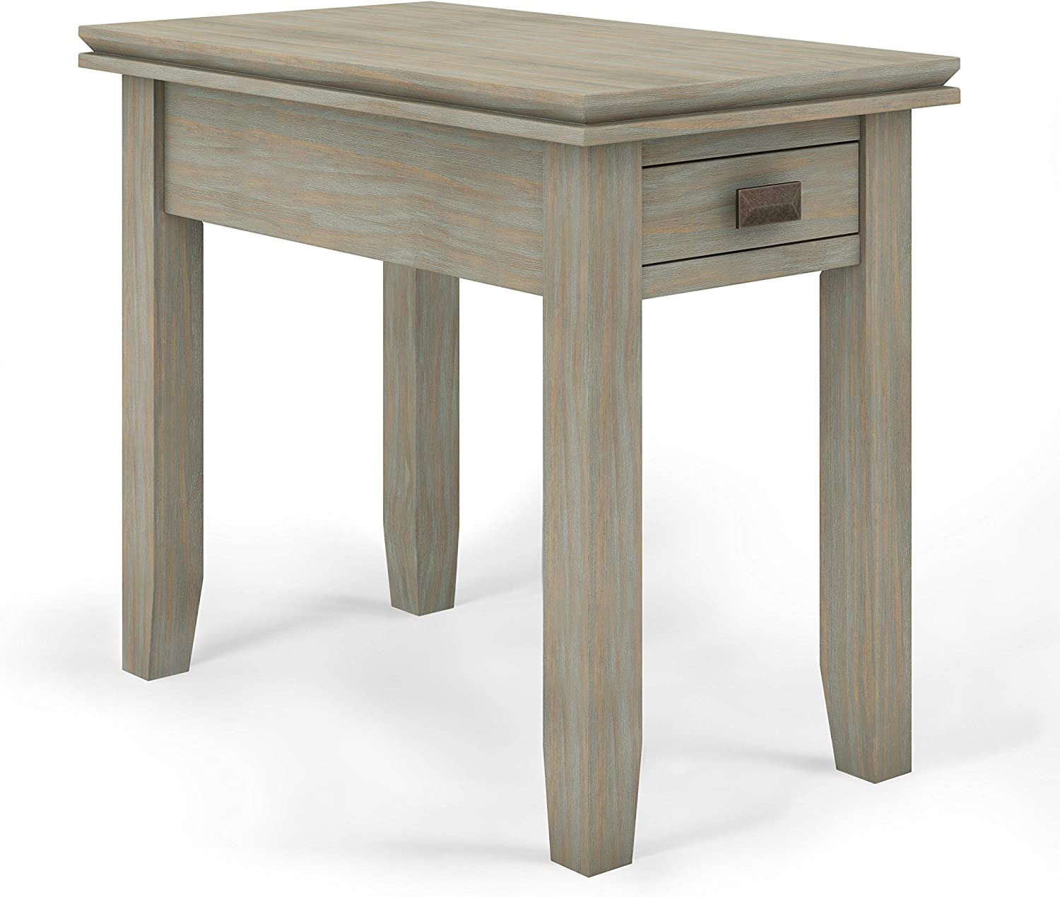 SIMPLIHOME Artisan SOLID WOOD 14 inch Wide Rectangle Contemporary Narrow Side Table in Distressed Grey