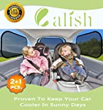 Calish Car Sun Shades (3 Pack) Universal Baby Car Window Shades are Best for Blocking Over 98% of Harmful UV Rays While Protecting Your Child from Sunlight and Heat