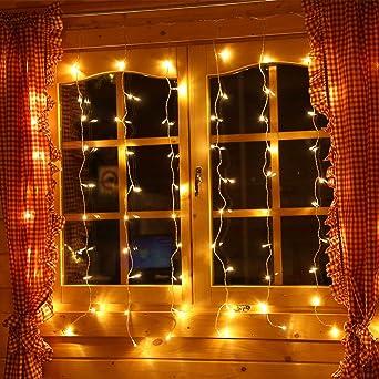Lichterkette für Fenster Lichtervorhang 1,3x1,3 mit 80 LED Deko ...