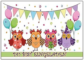 Schön Eulen Set Einladungskarten Kindergeburtstag Lustig Bunt Einladung Eule  Günstig Geburtstagseinladungen Jungen Mädchen Zum Geburtstag Kinder Gelb