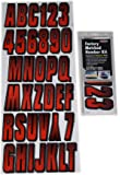 Hardline Products Series 300 Factory Matched 3-Inch Boat & PWC Registration Number Kit, Red/Black