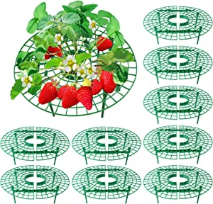ANGTUO 10-Pack Strawberry Supports, Adjustable Strawberry Growing Racks Plant Climbing Rack Vine Pillar Garden Stand Balcony Vegetable Rack for Keeping Fruit Elevated to Avoid Ground Rot