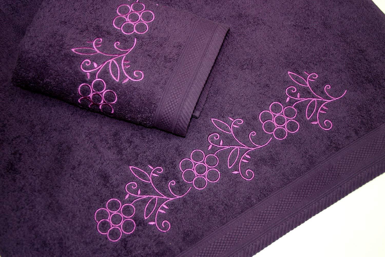 Juego de Toallas Bordadas 2 piezas 550gr (Violeta FLOWERS Nº9) product image