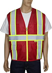 Safety Depot Breathable Safety Vest Multiple Colors Available, 4 Lower Pockets, 2 Chest Pockets with Pen Divider & High Visibility Reflective Tape MP40 (Mesh Red, 2XL)