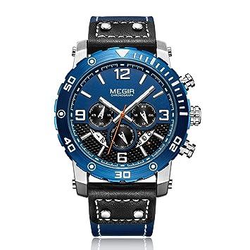 Megir Relojes De Lujo Casual Luxury Luminous Watch Funciones Múltiples De Cuero Genuino Impermeable Cronógrafo Sport Watch para Hombres 2084,Blue: ...
