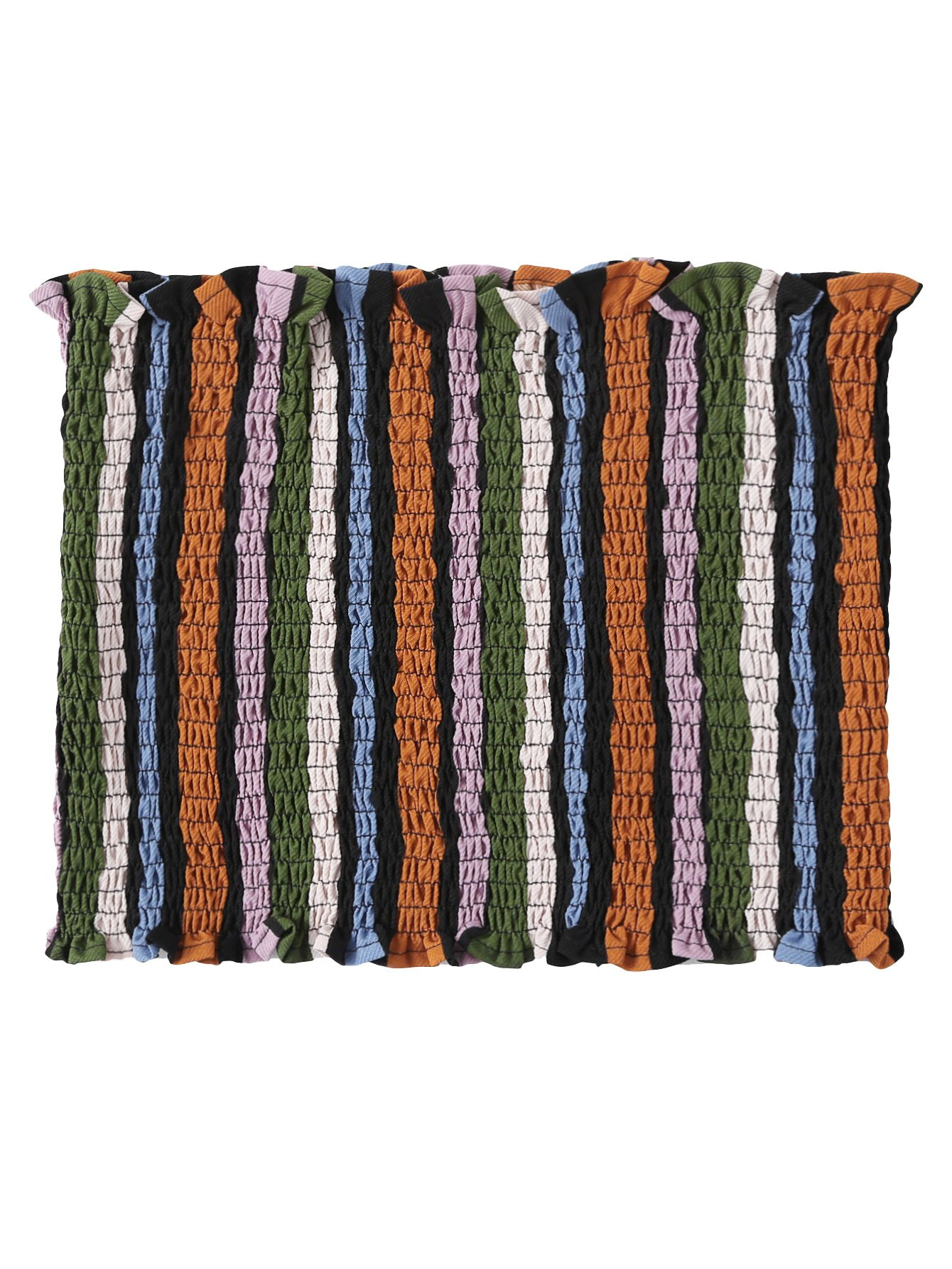 SweatyRocks Women's Strapless Bandeau Crop Tops Seamless Striped Frill Trim Tube Tops Striped#2 M