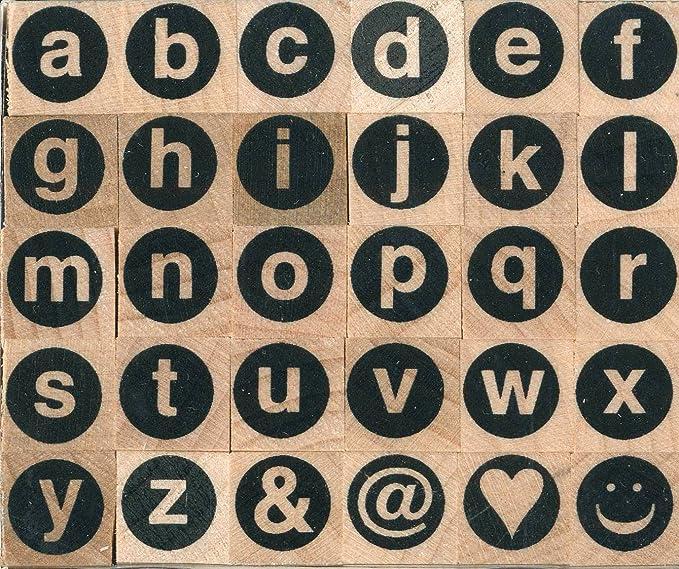 Artemio ARTA63 Set de Tampons en Alphabet Cerclé Minuscules Bois Multicolore 6 x 3 x 5 cm