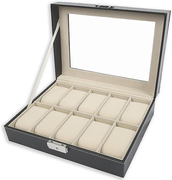 TRESKO® Caja para Relojes con 10 compartimentos, Buzón Memoria con ...