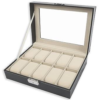 TRESKO® Caja para 10 de Relojes organizador de relojes caja relojero estuche relojero para almacenar relojes, de piel sintética, negro: Amazon.es: Relojes