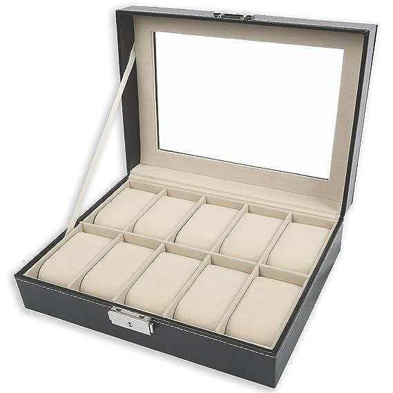 TRESKO® Caja para 10 de Relojes organizador de relojes caja relojero estuche relojero para almacenar relojes, de piel sintética, negro