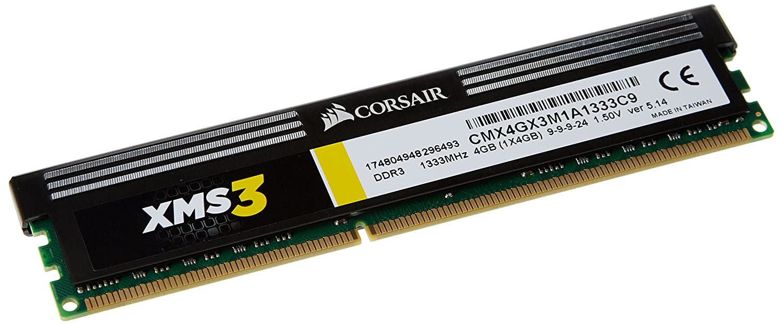 Corsair XMS3 - Módulo de Memoria de Alto Rendimiento de 4 GB (1 x 4 GB, DDR3, 1333 MHz, CL9) (CMX4GX3M1A1333C9)