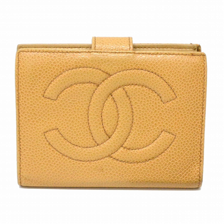 シャネル CHANEL ココマーク キャビアスキン レザー 二つ折 折財布 コンパクトウォレット がま口 革 ベージュ ゴールド金具 中古   B07RF5XGSZ