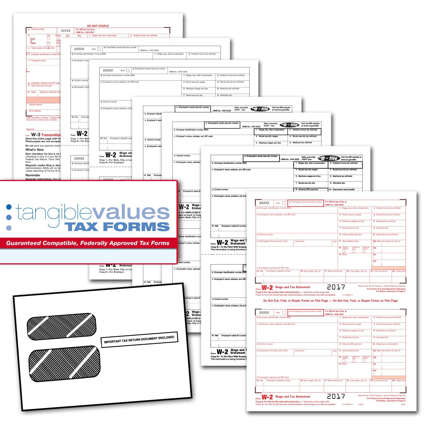 Amazon tangible values w 2 laser forms 6 part kit with amazon tangible values w 2 laser forms 6 part kit with envelopes for 25 employees 2017 tax forms office products falaconquin