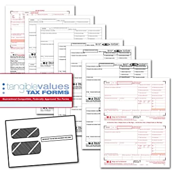 Amazon.com : Tangible Values W-2 Laser Forms (6-Part) Kit with ...