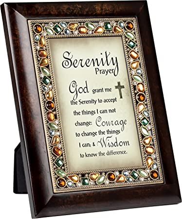 serenity prayer burlwood finish jeweled 4x6 framed art plaque