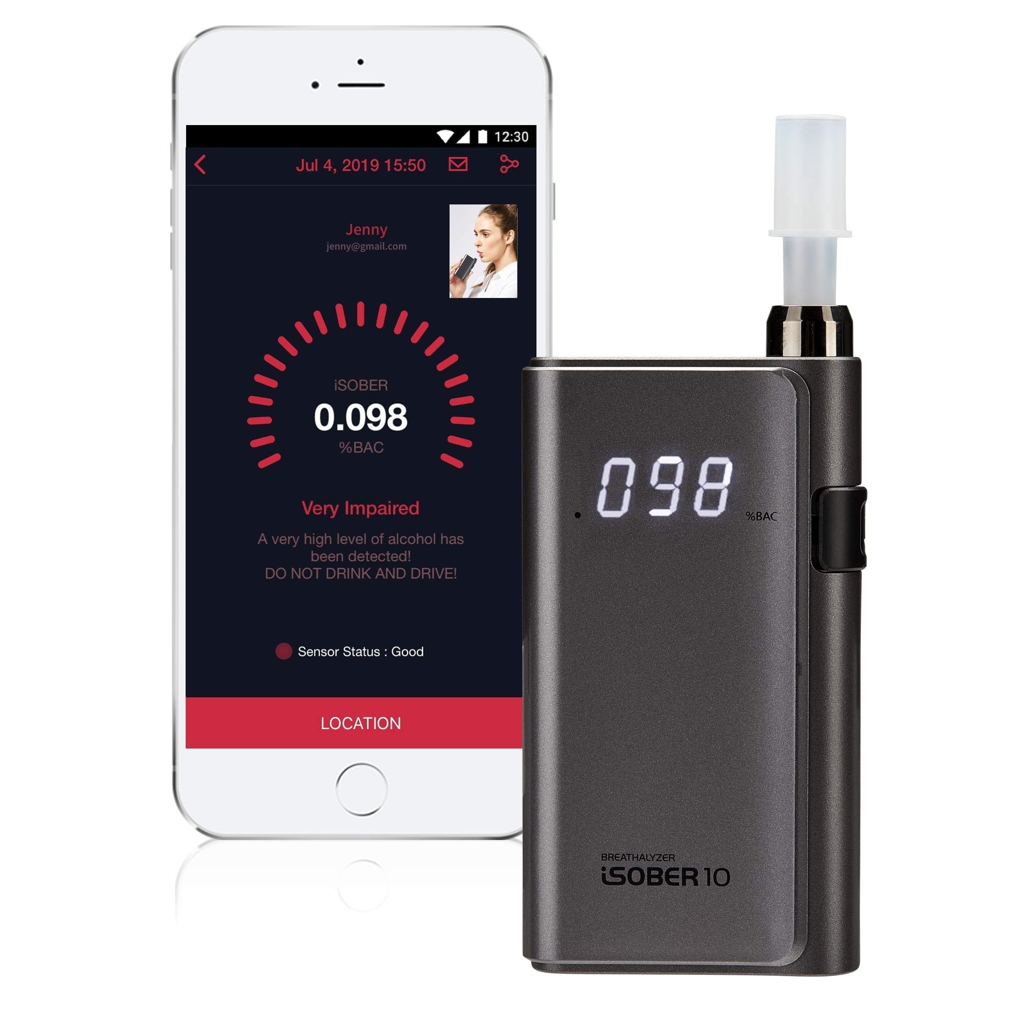 iSOBER 10 Breathalyzer   DOT, NHTSA Compliant   Suracell FuelCell Sensor Technology   FDA Regietered   [Patent Pending] Self-Diagnose The Sensor Status Check System Installed by iSOBER