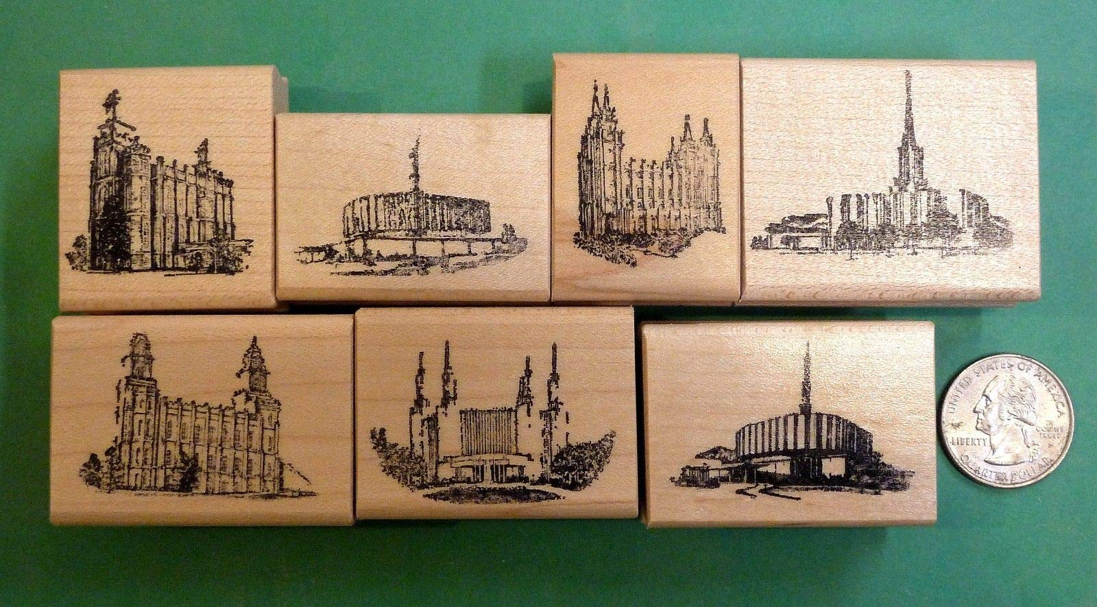 Quality Custom Rubber Stamps Mormon/LDS Temples, Set of (7), Wood Mounted Rubber Stamps Carved Wooden Stamps