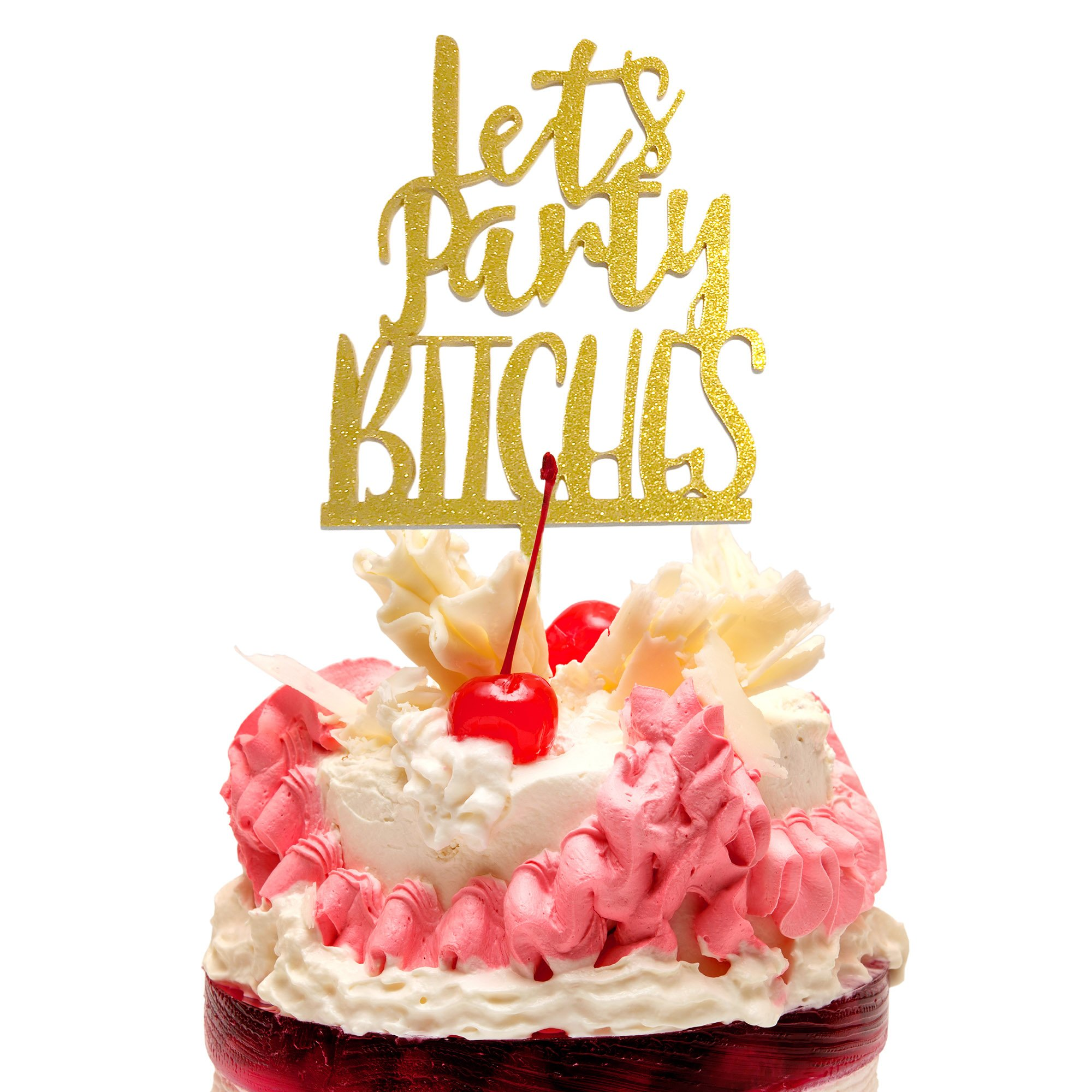 JennyGems - Let's Party Cake Topper - Bachelorette Parties or Girls Weekends - Acrylic Plastic Gold Sparkle Cake Topper