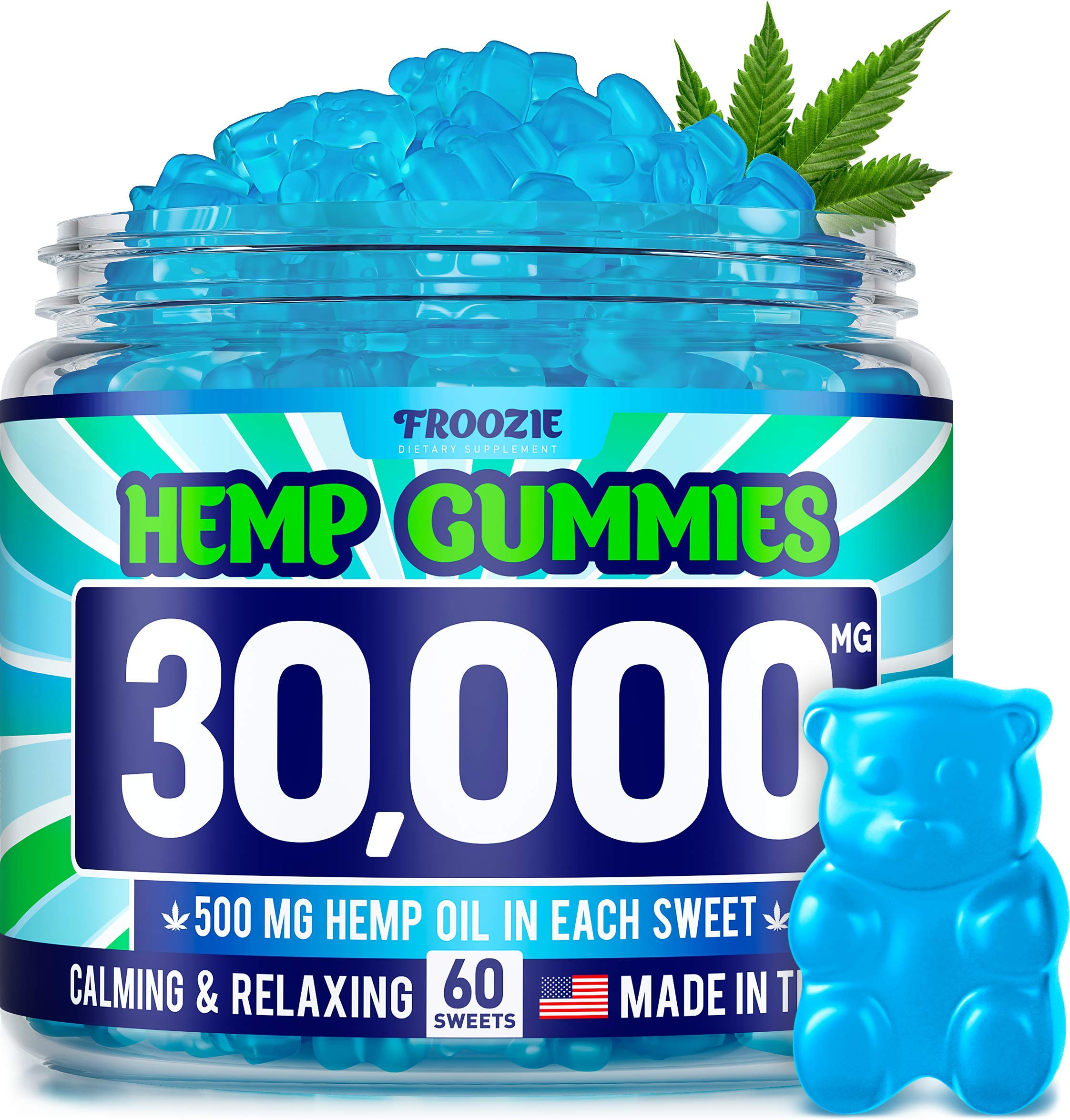 Hemp Gummies 30000 MG - 500 MG Hemp per Gummy, 60 Sweets - Made in USA - Natural Anxiety & Stress Relief - Premium Hemp & Coconut Synergy - Mood & Immunity Support - Ideal Omega 3, 6, 9 Source by Froozie