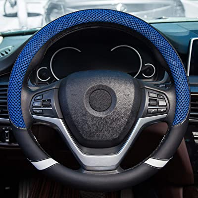 Achiou Auto Car Leather Steering Wheel Cover with Breathable Mesh for Men and Women Universal 15 inch Breathable, Non-Slip, No Smell Suitable for Every Season (Blue and Black): Automotive