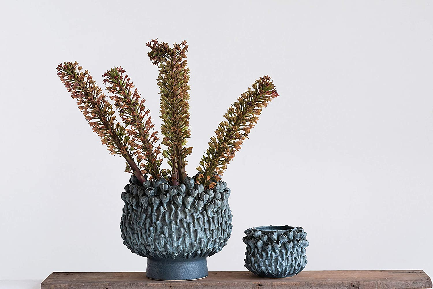 Creative Co-op Small Stoneware Surrounded by 3-D Flower Buds Vase Grey