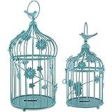 GIG Bird Cage Design Tealight Candle Holder for Home & Garden Decor (White Set of 2) (Blue)