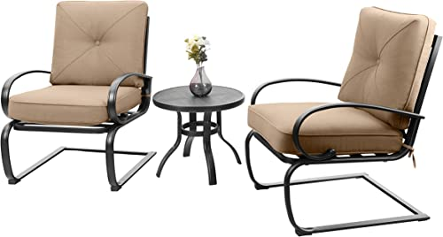 PHI VILLA Patio Big X Design C-Spring Metal Lounge Cushioned Chairs and Bistro Table Set – Cafe Furniture Seat with Beige Cushions