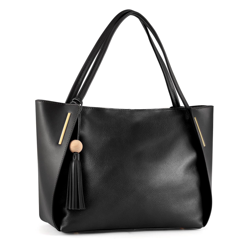Kattee Women's Genuine Leather Tote Handbag, Shoulder Bag with Tassel Decoration
